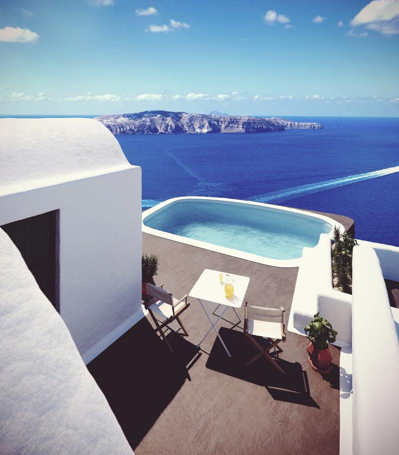 3d render of the balcony with amazing view in Santorini