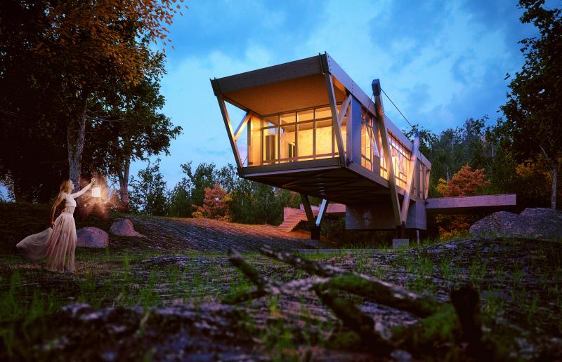 house in the woods blending with enviroment with woman holding a cadle light